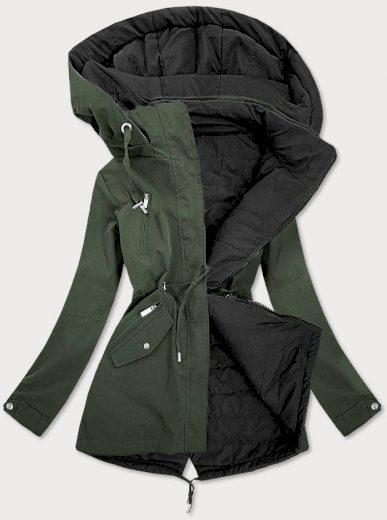 Khaki-černá oboustranná dámská bunda (W505)
