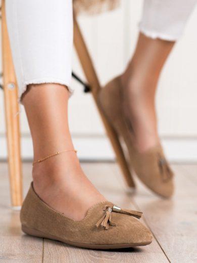 Pohodlné hnědé  baleríny dámské bez podpatku