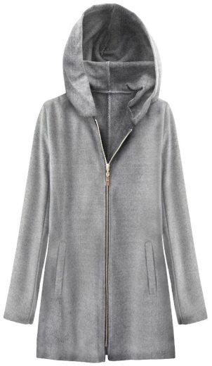 Světle šedý minimalistický kabát s kapucí (199ART)