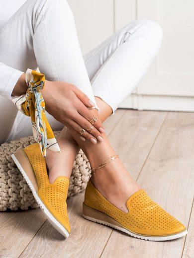 Praktické zlaté  baleríny dámské bez podpatku