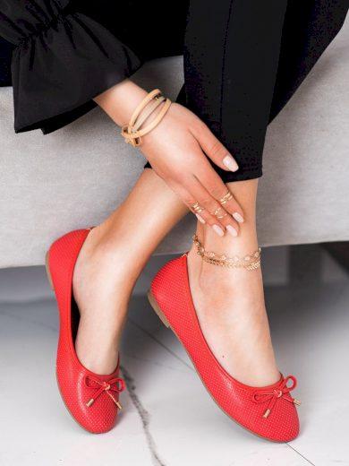 Jedinečné dámské  baleríny červené bez podpatku