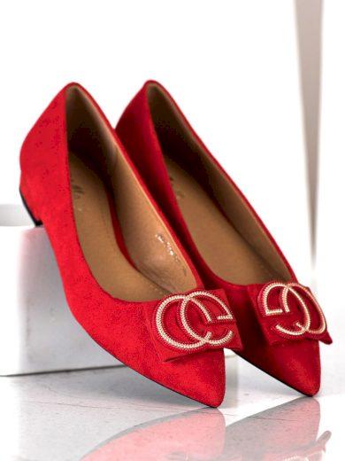 Trendy červené  baleríny dámské na plochém podpatku