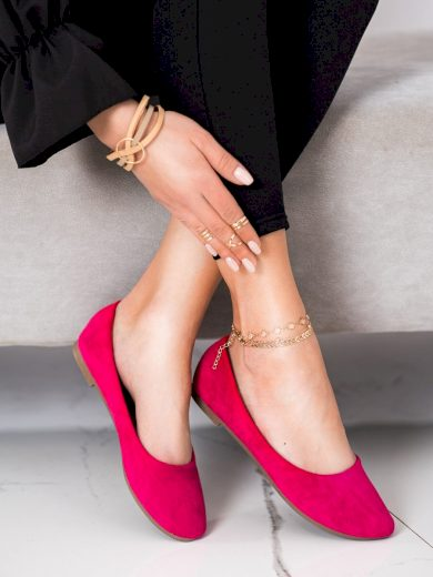 Designové dámské  baleríny růžové bez podpatku