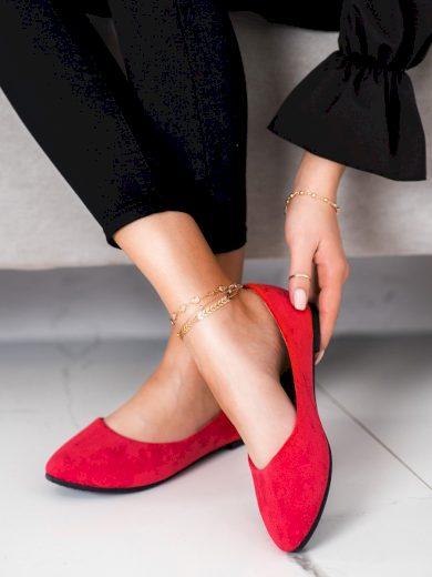 Komfortní  baleríny červené dámské bez podpatku