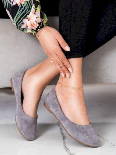 Moderní šedo-stříbrné  baleríny dámské bez podpatku