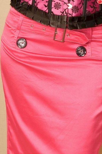 GORGE Dámská letní sukně s páskem a podšívkou zdobená knoflíky růžová - Růžová - OEM