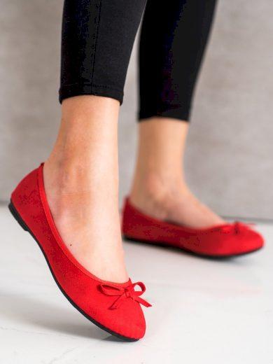 Designové červené dámské  baleríny bez podpatku