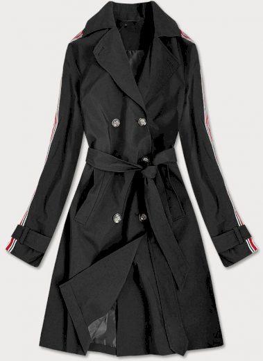 Černý tenký kabát-trenčkot s páskem (TR902)