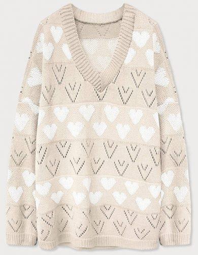 Béžový dámský svetr se srdíčky (670ART)