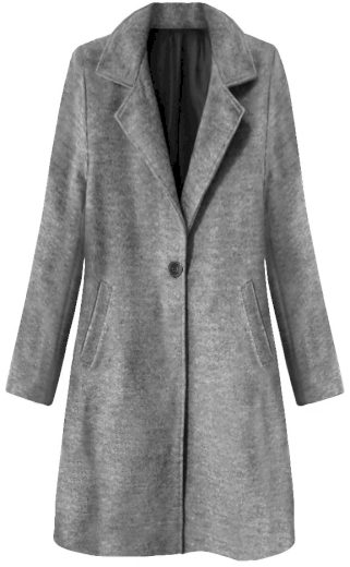 Tmavě šedý minimalistický kabát na knoflík (3106)