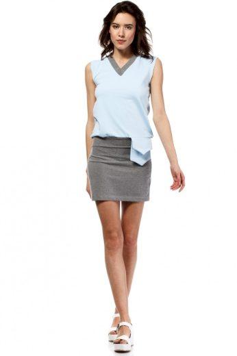 Letní šaty mini značkové BeWear bez rukávu krátké světle modré - Modrá - BeWear