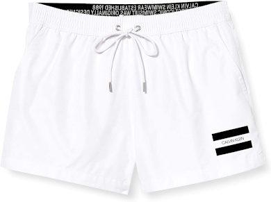 Pánské plavecké šortky KM0KM00441 YCD bílá - Calvin Klein