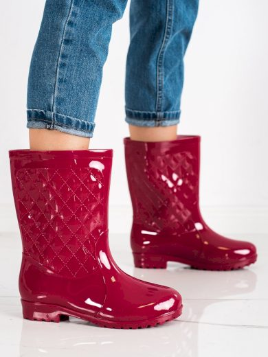 Trendy dámské  gumáky červené na plochém podpatku