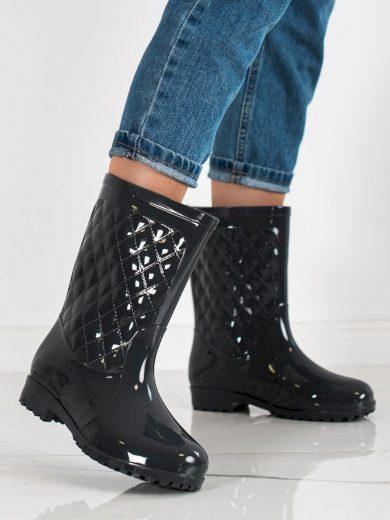 Designové šedo-stříbrné dámské  gumáky na plochém podpatku