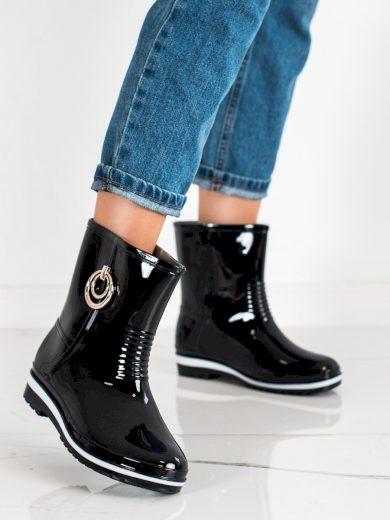 Módní  gumáky černé dámské na plochém podpatku