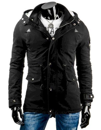 Pánská prošívaná zimní bunda s odnímatelnou kapucí černá - Černá / XXL - DSTREET