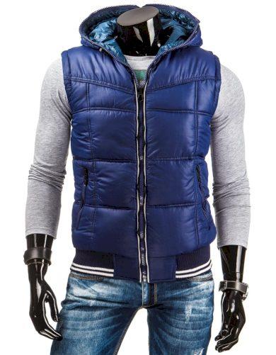 Pánská oboustranná zateplená vesta s kapucí tmavě modrá - Tmavě modrá / M - DSTREET