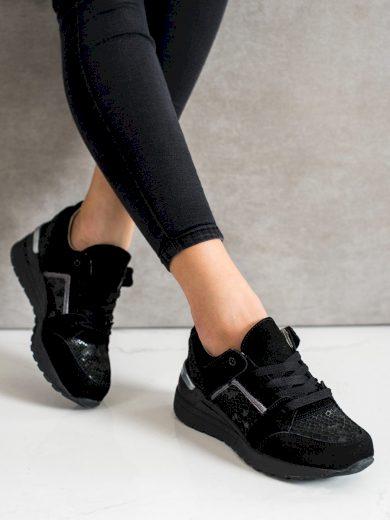 Luxusní dámské černé  tenisky bez podpatku