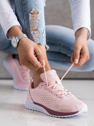 Luxusní  tenisky dámské růžové bez podpatku