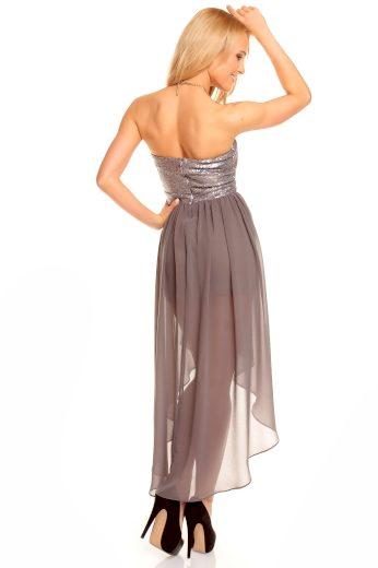 Dámské společenské šaty korzetové MAYAADI s asymetrickou sukní šedé - Šedá - MAYAADI