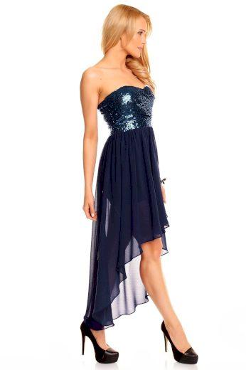 Dámské společenské šaty korzetové MAYAADI s asymetrickou sukní tm. modré - Tmavě modrá - MAYAADI