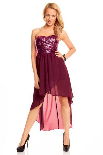 Dámské společenské šaty korzetové MAYAADI s asymetrickou sukní fialové - Fialová - MAYAADI