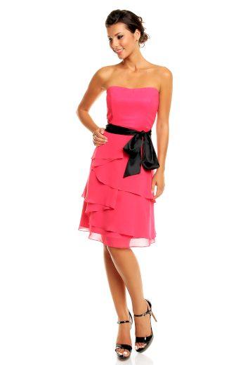Společenské šaty korzetové značkové MAYAADI s mašlí a sukní s volány růžové - Růžová - MAYAADI