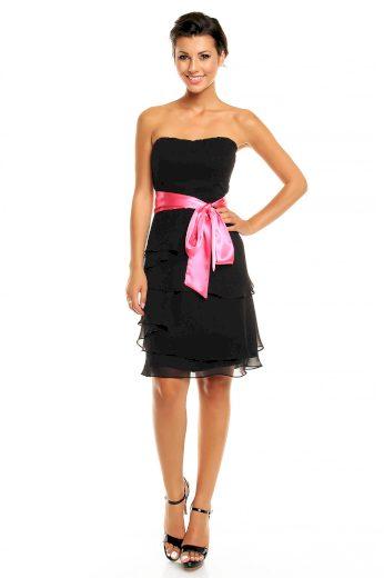 Společenské šaty korzetové značkové MAYAADI s mašlí a sukní s volány černé - Černá - MAYAADI