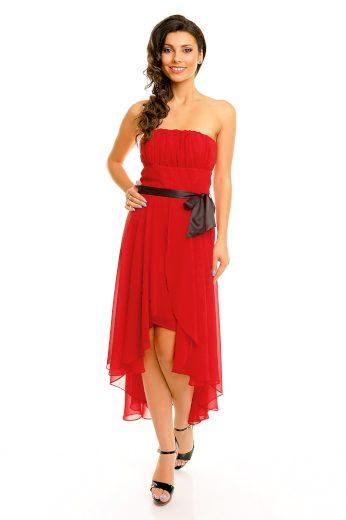 Společenské šaty korzetové MAYAADI s mašlí a asymetrickou sukní červené - Červená - MAYAADI