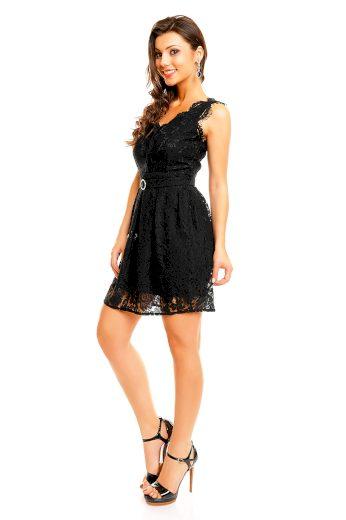 Společenské šaty MAYAADI Deluxe krajkové s páskem černé - Černá - MAYAADI