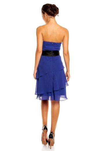 Společenské šaty korzetové značkové MAYAADI s mašlí a sukní s volány modré - Modrá - MAYAADI