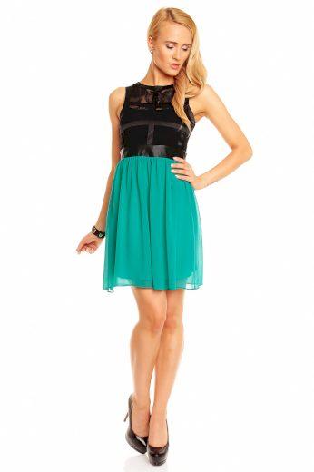 Dámské párty šaty MAYAADI bez rukávů s krajkou krátké černo zelené - Černá - MAYAADI