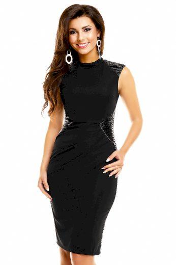 Dámské šaty bez rukávů s řasením v pase středně dlouhé černé - Černá - MAYAADI