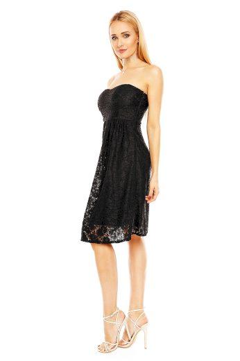 Společenské dámské šaty krajkové bez ramínek černé - Černá - MAYAADI