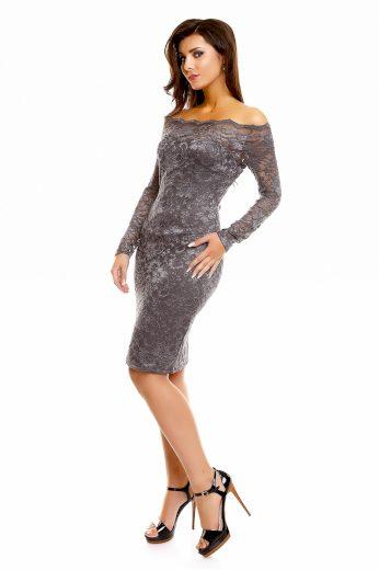 Dámské společenské šaty MAYAADI krajkové s dlouhým rukávem krátké tmavě šedé - Šedá / XL - MAYAADI