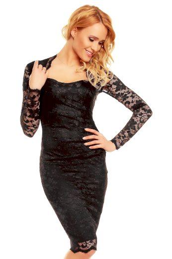 Společenské šaty MAYAADI krajkové s dlouhým rukávem středně dlouhé černé - Černá / S - MAYAADI