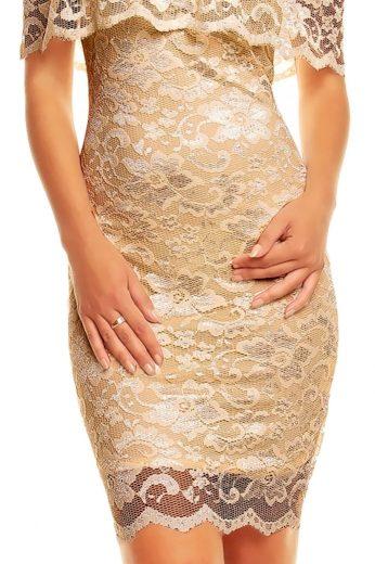 Společenské šaty krajkové MAYAADI krajkové s výstřihem na ramena krémové - Béžová / XL - MAYAADI