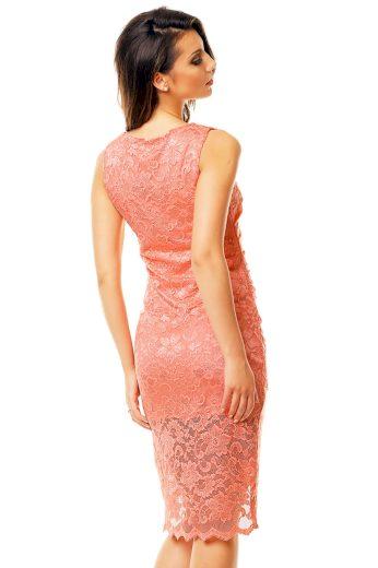 Společenské a plesové šaty  MAYAADI krajkové s asymetrickou sukní lososové - Růžová / XL - MAYAADI