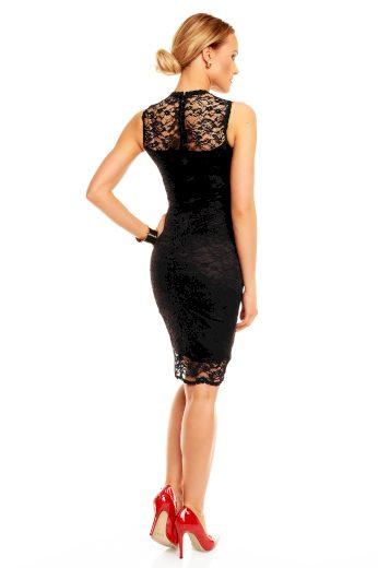 Společenské šaty MAYAADI Deluxe krajkové bez rukávů černé - Černá / XL - MAYAADI