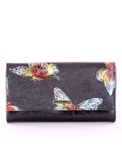 Dámská černá kožená peněženka s motýly PN22-BFP - FPrice