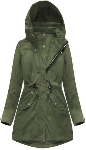 Oboustranná bunda v khaki barvě s kapucí (W0229)
