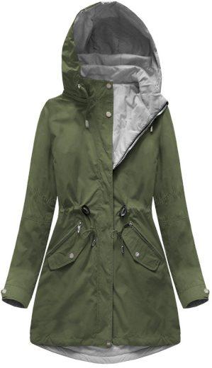 Obustranná bunda v khaki-šedé barvě s kapucí (W0229)