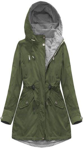 Oboustranná bunda parka v khaki-šedé barvě s kapucí (W0232)