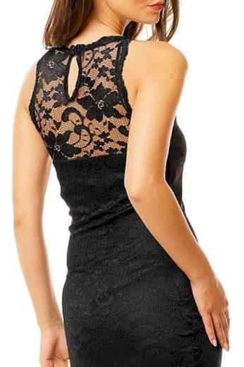 Společenské šaty krajkové značkové MAYAADI bez rukávu středně dlouhé černé - Černá - MAYAADI