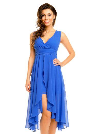 Dámské společenské šaty MAYAADI šifonové s asymetrickou sukní modré - Modrá / S - MAYAADI