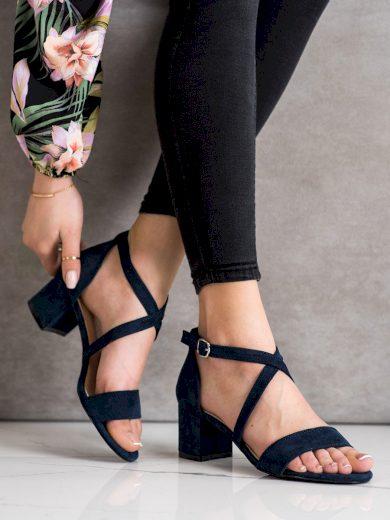 Výborné modré dámské  sandály na širokém podpatku