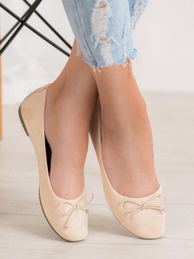 Stylové hnědé dámské  baleríny bez podpatku