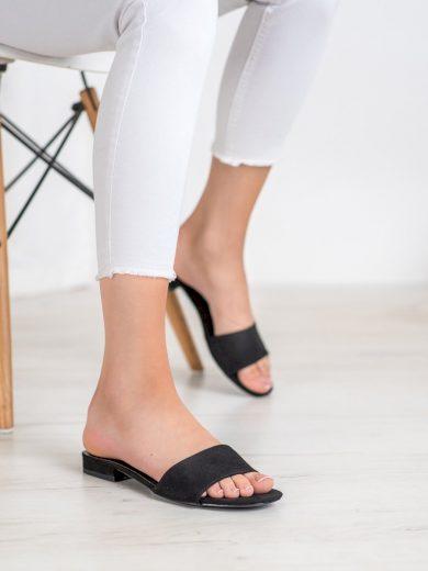 Luxusní  nazouváky černé dámské na plochém podpatku