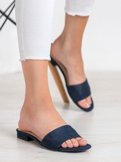 Luxusní modré  nazouváky dámské na plochém podpatku