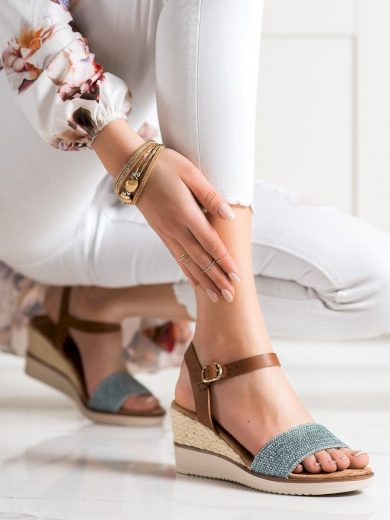 Jedinečné dámské  sandály modré na klínku